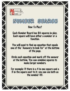 Number Search - Find The Equation For The Given Answers - Awesome Game