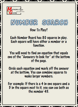 Number Search - For Smartboard, Interactive - Finding solutions for functions