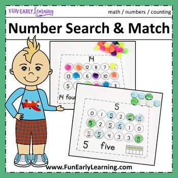 Number Search & Match Activity - Numbers 0-20