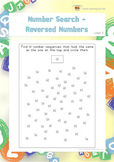 Number Search-Reversed Numbers (Visual Perception Worksheets)