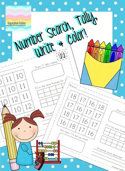 Number Search, Tally, Write & Color 1-20