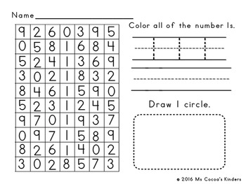 Number Search Work Pages 0-10