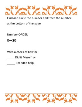 Number Search and Trace Worksheet