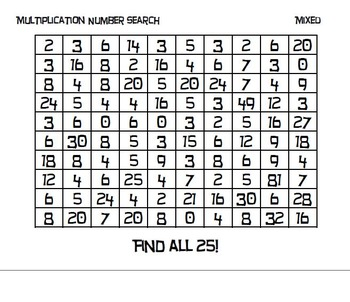 Number Searches - Mixed Multiplication - Set of 4