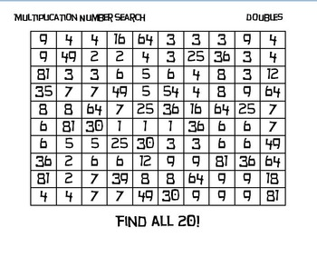 Number Searches - Multiplying Doubles
