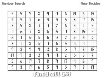 Number Searches - Near Doubles