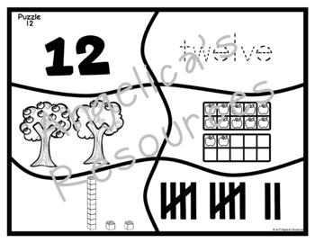 Place Value Number Sense 0-20: Apple Number Puzzles -ten frames, base 10 blocks
