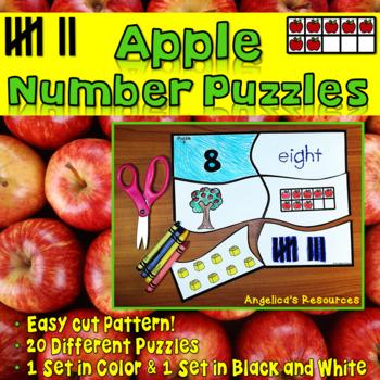 Place Value Number Sense 1-20: Apple Number Puzzles -ten frames, base 10 blocks