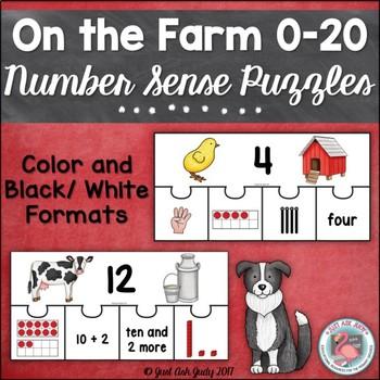 Number Sense 0-20 Farm Puzzles