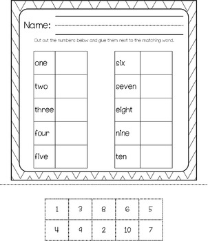 Number Sense 0 - 20 Matching Game
