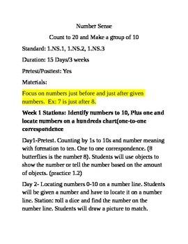 Number Sense 0-20 Math Unit-Indiana CCRS