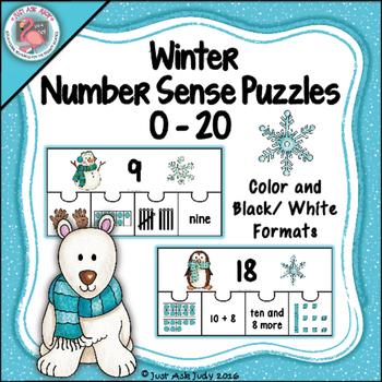 Number Sense 0-20 Winter Puzzles