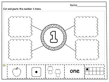 Number Sense (1-10) Cut and Paste Worksheets