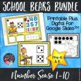 Number Sense 1-10 School Bears Bundle Printable Plus Digit