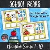 Number Sense 1-10 School Bears Digital for Google Slides