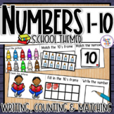 School Number Sense 1-10  counting, matching, reading & writing numbers 1-10