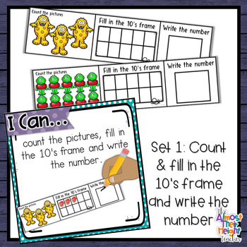Monster Number Sense 1-10  counting, matching, reading & writing numbers 1-10