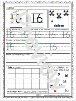Number Sense 1-20 Printable Worksheets