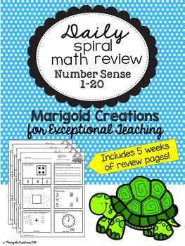 Number Sense 1-20/ Daily Spiral Math Review/ Morning Work/ Homework
