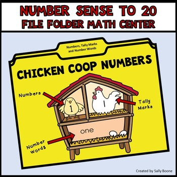 Number Sense 1-20 with Numbers, Number Words, Tally Marks - Chicken Theme