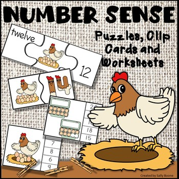 Number Sense 1-20 with Puzzles, Clip Cards and Worksheets - Chicken Theme
