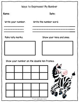 Number Sense Activity Teen Numbers 10-19- Zebra Theme