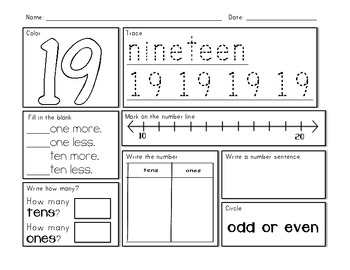 Number Sense - 100 Numbers Student Activity Sheet