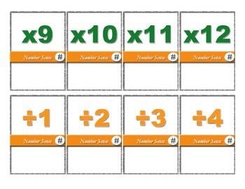 Number Sense - 100 card elementary math operations challenge card game
