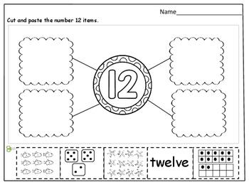 Number Sense (11 - 20) Cut and Paste Worksheets