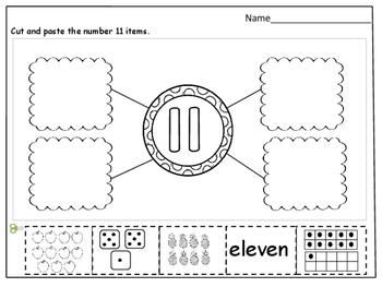 Number Sense (11 - 20) Cut and Paste Worksheets by Kids' Learning Basket