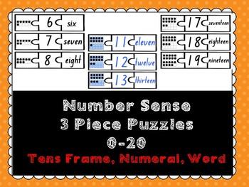 Number Sense- 3-Piece Puzzles 0-20