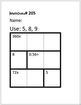 Number Sense: 39 MathDoku Puzzles with Mult and Division with Decimal Remainders
