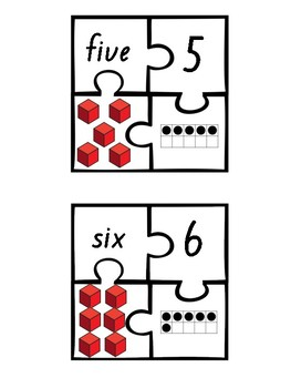 Number Representations 4-Piece Puzzles 1-10