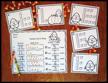 Number Sense Activity Candy Corn Critter Teen Numbers 10-19