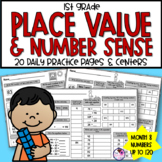 Daily Math CCSS Aligned Place Value Number Sense Worksheets Centers 1st Grade 8