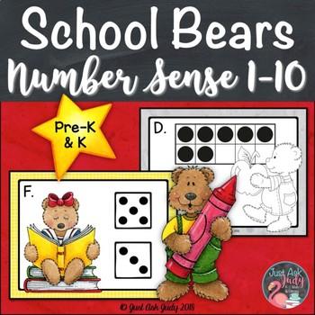 Number Sense Activity 1-10 School Bears