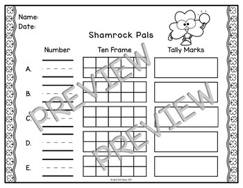 Number Sense Activity 1-10 Shamrock Pals