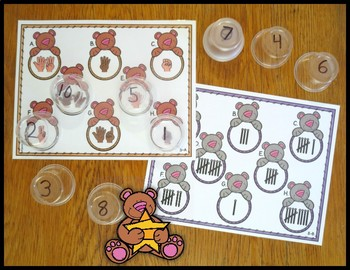 Number Sense Activity Cup Craze Bears 0-10 and 11-20