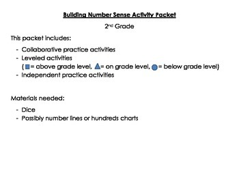 Number Sense Activity Packet