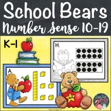 Number Sense Activity School Bear Teen Numbers 10-19