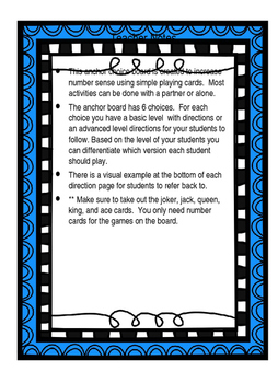 Number Sense Anchor Board Differentiated