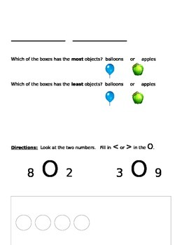 Number Sense Assessment:  Counting On, Comparing, Representing Numbers