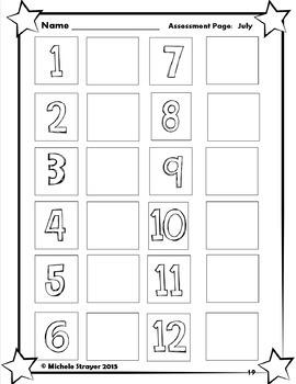 Number Sense Assessments:  January thru December