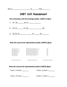 Number Sense Base Ten Unit Assessment 1NBT