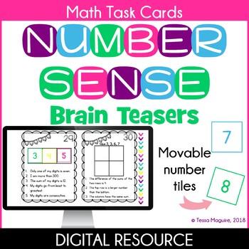 Number Sense Brain Teasers Digital Task Cards