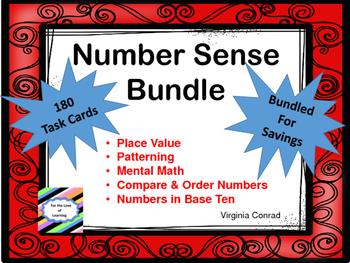 Number Sense Bundle--180 Task Cards for 5 Topics