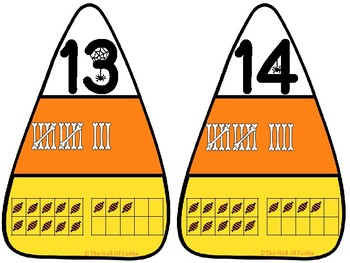 Math Center: Halloween Number Sense Puzzle (Candy Corn)