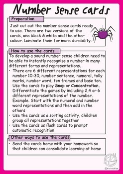 Number Sense Cards 10-30: 6 different representations for each number