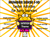 Number Sense Center Activities 1-10 SUMMER EDITION