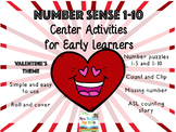 Number Sense Center Activities 1-10 VALENTINE'S EDITION